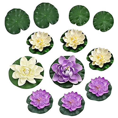 8 Pcs Artificielle Nénuphar Flottant Lotus, 4 Pcs Feuilles de Lotus Artificielle, Mousse Flottante Plantes pour Mariage Jardin Étang de Terrasse Décor