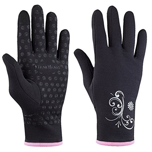 TrailHeads Women's Running Gloves | Touchscreen Gloves | Power Stretch Winter Running Accessories - Black/Fast Pink