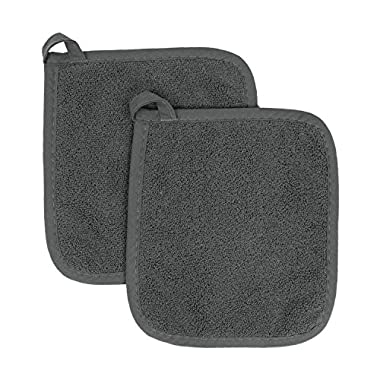 Ritz Royale Collection 100% Cotton Terry Cloth Pot Holder Set, Kitchen Hot Pad, 2-Pack, Graphite