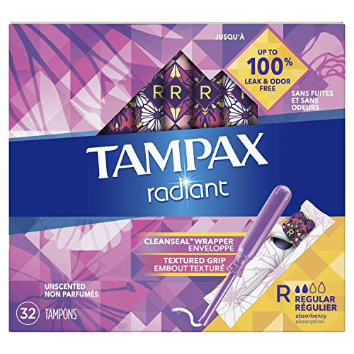 Tampax Radiant Plastic Tampons Super plus Absorbency Unscented 28 Count Packaging May Vary