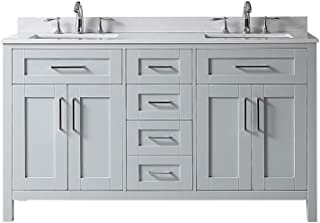 Ove Decors Tahoe 60G Marble Top Bathroom Double Sink Vanity, 60-Inch by 21-Inch, DOve Decors Grey