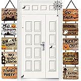 Decoraciones de Halloween,10 Piezas Halloween Banner Letreros Colgantes de Halloween,Pancarta Interior Al Aire Libre Decoración de la Fiesta de Halloween