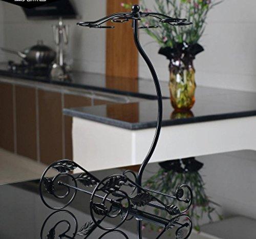 SQL Ornamentos de cristal de botellero de forja creativa vino rack-estilo . matt black