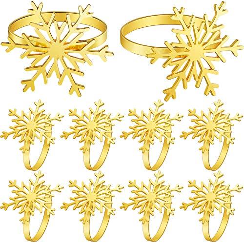 12 Stücke Weihnachten Schneeflocke Serviettenringe Metall Schneeflocke Servietten Halter Ringe für Weihnachten Essen Partys, Alltägliche Hause Tisch Dekoration Zubehör (Gold)