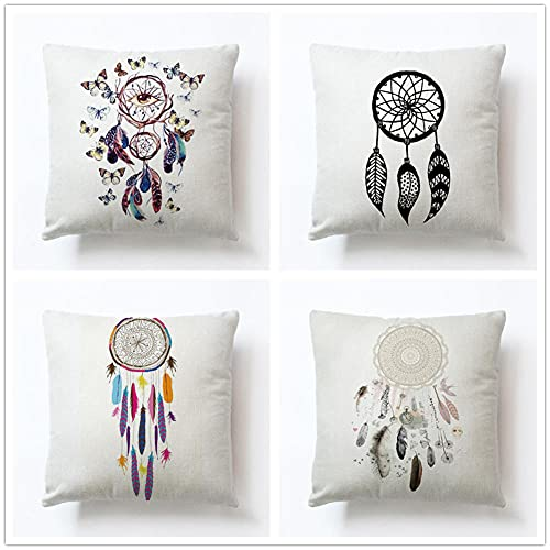 4 Pack Throw Pillow Case 45x45cm Funda de Almohada Decorativa Cuadradas Algodón de Lino Doble Cara con Cremallera Invisible para Exterior Sofá Sillón Dormitorio Coche(Atrapasueños De Plumas,18x18inch)