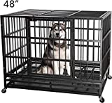 ITORI Heavy Duty Metal Dog Cage Kennel Crate and Playpen for Training Large Dog Indoor Outdoor with Double Doors & Locks Design Included Lockable Wheels Removable Tray