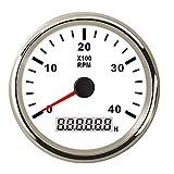 Waterproof Tachometer Gauge 4000 RPM 85MM Tacho Meter with LCD Digital Hour Meter Clock Backlight for Car Truck Boat