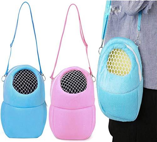 Biluer Haustier-Tragetasche, Hamster Reisetasche Hamster Tragetasche Tragbar Atmungsaktiv Haustiertragetasche,Für kleine Haustiere Igel Zucker Gleiter Eichhörnchen Kaninchen(Blau,Pink)