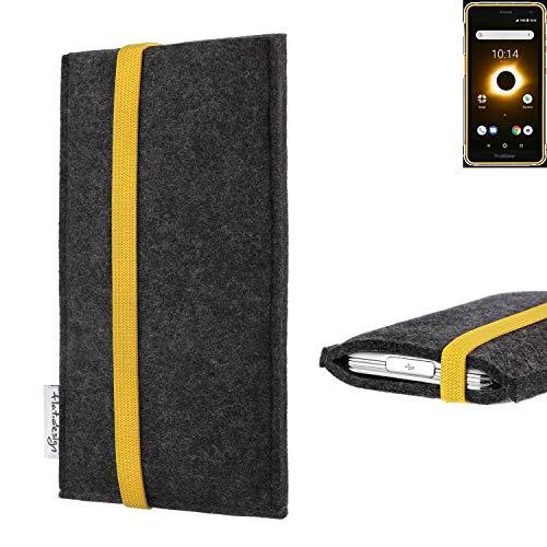 flat.design vegane Handy Tasche Coimbra für Ruggear RG650 - Schutz Hülle Tasche Filz vegan fair gelb