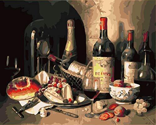 RJDHNGAK Cuadro para Pintar con Numeros Vino Tinto Kit De Pintura Al óLeo por NúMeros para Adultos NiñOs Lienzos para Pintar por NúMeros con Pinceles Y Colores Brillantes 50x40cm sin Marco