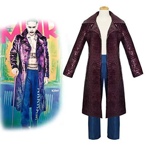 GGOODD Selbstmordkommando Clown Mann Joker Cosplay Kostüm Halloween Karneval Party Lila Lederjacke,XXL