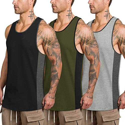 COOFANDY Mens Workout Tank Tops 3 Pack Quick Dry Gym Muscle Tee Fitness Bodybuilding Training Sport Sleeveless T Shirt (Black/Army Green/Light Gray02, X-Large)