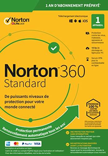 Norton 360 Standard 2020 | Antivirus pour 1 appareil et un an d'abonnement avec renouvellement automatique | Secure VPN et Password Manager | PC/Mac/iOS/Android | Code d'activation - envoi par email
