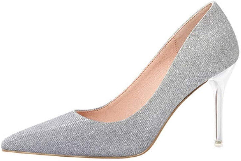 JIANPING High Heels Temperament sexy Pailletten Kleid Schuhe Hochzeit Schuhe Sandalen Stiletto Heels 9 cm 4 Farben Frauen Schuhe (Farbe   W-4, Größe   EU36 UK3.5 CN35)