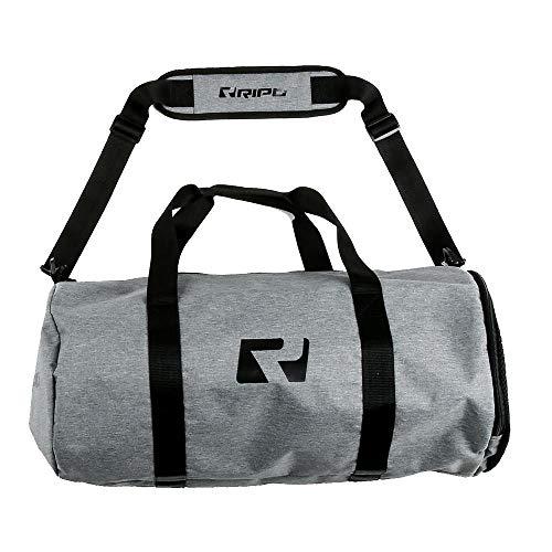 RIPT Performance Unisex Workout Training Carryall Shoulder Barrel Gym Bag, Grey/Black, One Size
