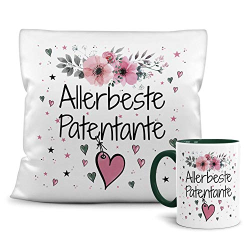Print Royal Geschenk-Set aus Tasse und Kissen mit Füllung - Allerbeste Patentante - Persönliche Geschenkidee für Beste Freunde, Verwandte und Familie - weiß/dunkelgrün
