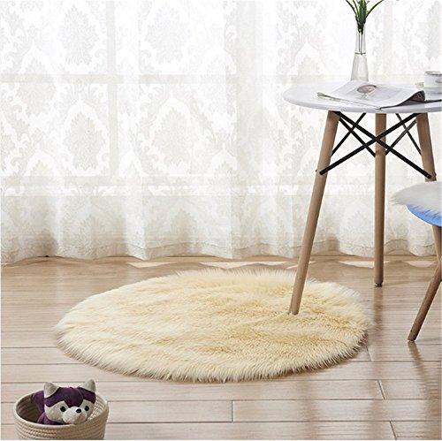 Round Faux Fur Sheepskin Carpet