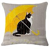 Vorcool Chat mignon Couvre-lit Taie d'oreiller en coton et lin Housse de coussin Maison Canapé Décoration (chat et parapluie)