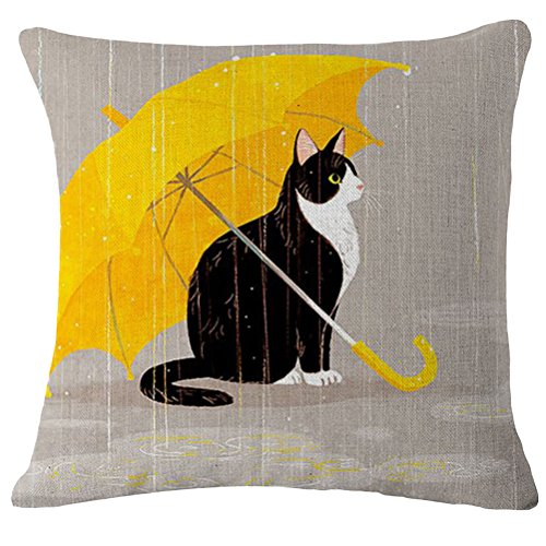 VORCOOL Cute Cat Throw Pillow Case Cotton Linen Cushion Cover Home Sofa Decoration (Cat and Umbrella)