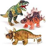 Prehistoric World - Ensemble de 3 Peluches Jumbo Dinosaures - Peluche Dinosaure pour Enfants - Convient aux Tout-Petits - Garçons ou Filles à partir de 0 Mois