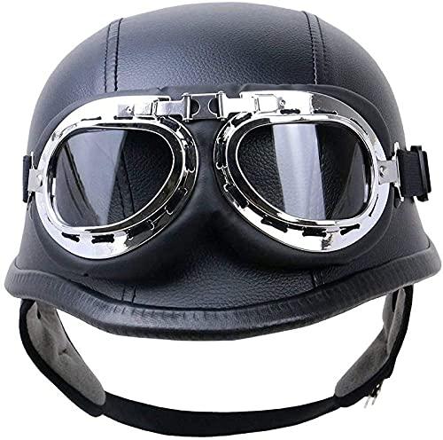 Medio casco de motocicleta, casco de motocicleta de cuero vintage con gafas de aviador, casco abierto con certificación ECE, cascos Street Cruiser para hombres y mujeres A,S
