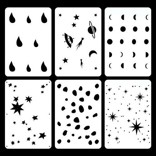 Juego de 6 plantillas de estrellas brillantes para decoración de muebles de pared o techo, 20 x 30 cm