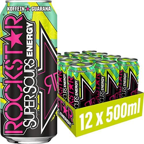 Rockstar Energy Drink Super Sours Green Apple - Saures, koffeinhaltiges Erfrischungsgetränk für den Energie Kick, EINWEG (12x 500ml)