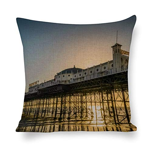 Tiukiu 12 X 12 Inch Cotton Linen Square Throw Pillow Case Cushion Covers, Bed Sofa Couch Car Home Decor, Brighton Pier Landscape