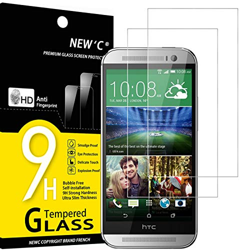 NEW'C 2 Stück, Schutzfolie Panzerglas für HTC One M8, M8s, Frei von Kratzern, 9H Festigkeit, HD Bildschirmschutzfolie, 0.33mm Ultra-klar, Ultrawiderstandsfähig