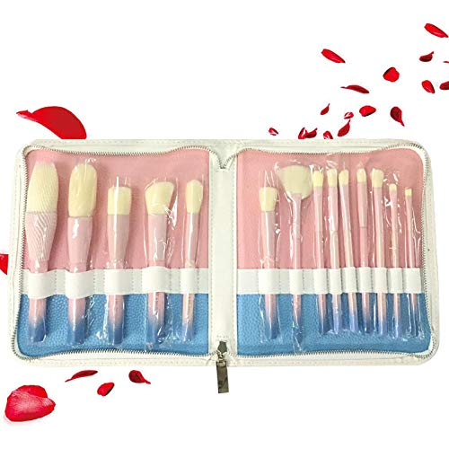 MPKHNM Powder blue gradient makeup brush wooden handle fiber brush blush foundation brush makeup beauty tools pink + bag