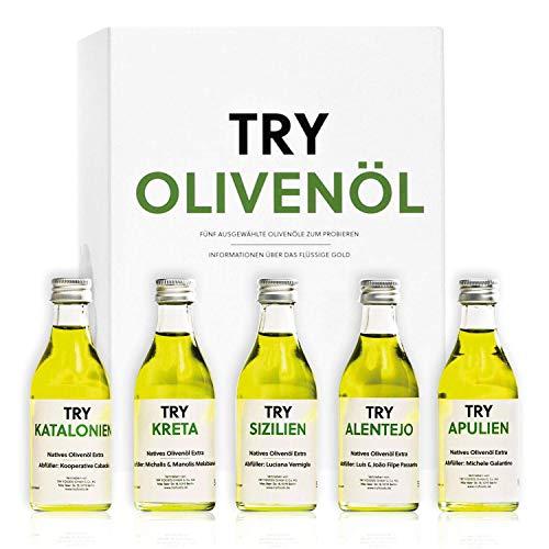 Olivenöl Set Geschenkset 5x50ml I Natives Olivenöl probieren I Bekannt aus Höhle der Löwen I Hochwertige Geschenke Feinschmecker Probierset