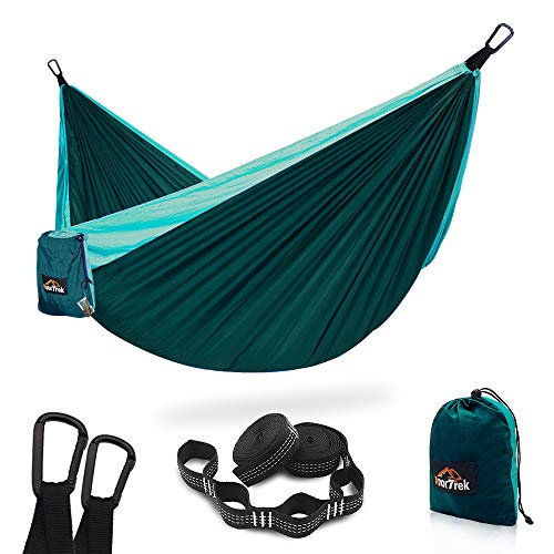 AnorTrek Camping Hammock, Super Lightweight Portable Parachute Hammock with Two Tree Straps (Each...