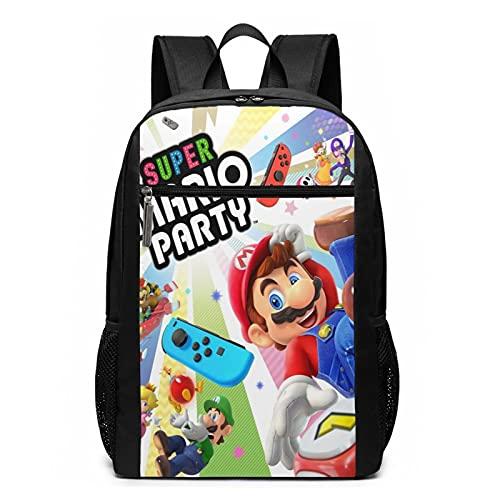 Super Mario Party Mochila de viaje resistente al agua grande para ordenador portátil, mochila universitaria para mujeres y hombres, mochila de negocios