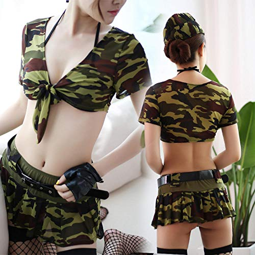 MEN.CLOTHING-LEE Ropa de Dormir para Mujer Corsés para Mujer Lencería Sexy Uniforme Traje de seducción Camuflaje Uniforme Militar Sexy Uniforme seducción Cosplay Mujer policía-Camuflaje