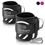 Ankle Straps Set for Cable Pulley Machine + Training Guide - 1 Pair One-Size Padded Foot Cuffs with Fastener...