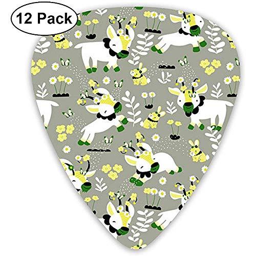 Scherzende Ziegen Plektren 12er Pack, 3 Stärken, einschließlich 0,46 mm, 0,96 mm, 0,71 mm