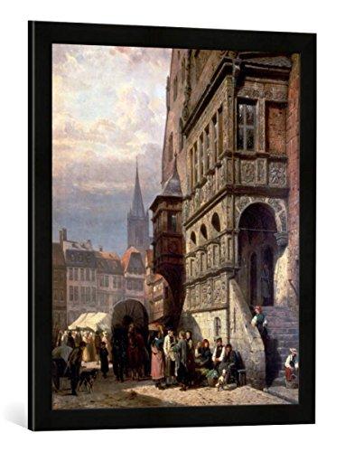 Gerahmtes Bild von Cornelius Springer Das Rathaus & der Marktplatz von Halberstadt, Kunstdruck im hochwertigen handgefertigten Bilder-Rahmen, 50x70 cm, Schwarz matt