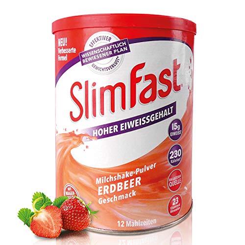 SlimFast Milchshake Pulver Erdbeere I Kalorienreduzierter Diät-Shake mit hohem Eiweißanteil I Diät-Pulver für eine gewichtskontrollierende Ernährung I Nur 230 Kalorien pro Protein-Shake I 438 g