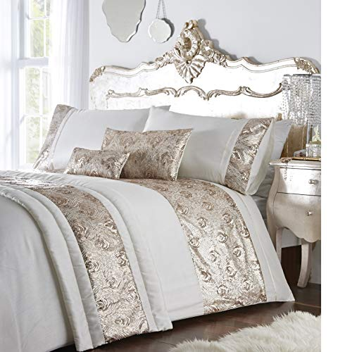 Krista Duvet Cover, Polycotton, Cream/Rose Gold, Double