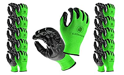 Eldorado Work Gloves, Nitrile Coated With Grip, Multipurpose Worker Gloves for Gardeners, Farmers, Mechanics, Constructions, Storekeepers, Size L, Colors: Green/Black, 12 Pairs Pack.