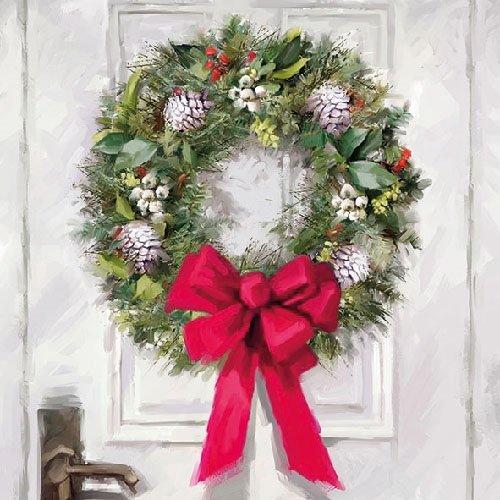 Servet 'winterse deurkrans' 20 Stück multi