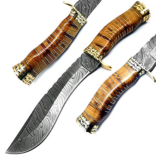 "Best.Buy.Damascus1 Beautiful Olive Wood 13"" Kukri Fixed Blade Handmade Damascus Steel Hunting Knife with Prime Quality"