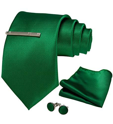 JEMYGINS 9cm Breit Extra lang Krawatte Herren Grün in Seide Geeigneter Hochzeit Fest und Einstecktuch Krawattenklammer Set(16)