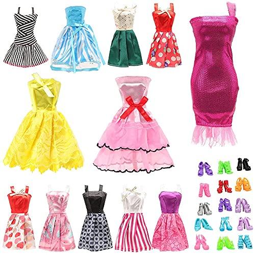 Miunana 5 Vestidos De Fiesta + 7 Ropas + 10 PCS Accesorios para 11.5 Pulgadas 28 - 30 cm Muñecas