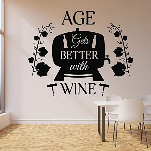 WERWN Calcomanías de Pared Idioma del Vino Cita Bar Tienda de vinos Restaurante Bodega decoración de Interiores Puertas y Ventanas Pegatinas de Vinilo Mural de Barril de Vino