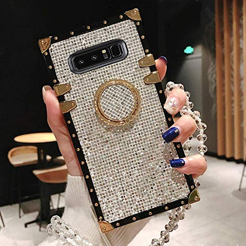 BABEMALL Compatible for Samsung Galaxy Note 8 Case, Elegant Premium Bling Square Protective Shock Absorption Metal Decoration Corner Back Case with Crystal Strap (Silver)