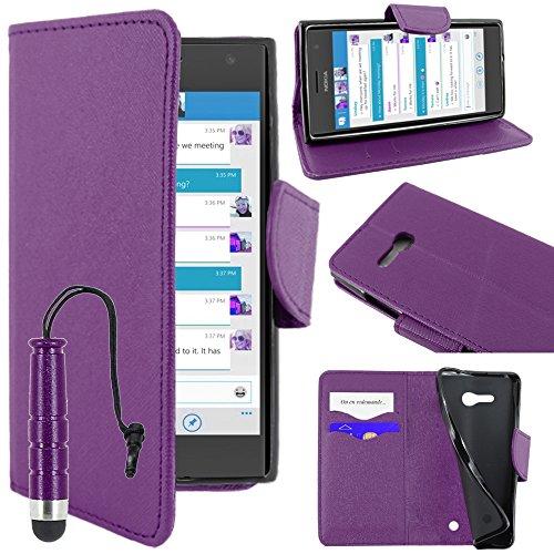 ebestStar - Cover Compatibile con Nokia Lumia 735 730 Dual Custodia Portafoglio Pelle PU Protezione Libro Flip + Mini Penna, Viola [Apparecchio: 134.7 x 68.5 x 8.9mm, 4.7'']