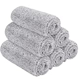 SINLAND Microfiber Face Towels Ultra Soft Bamboo Charcoal Facial Washcloths Face Cloth for Bath12Inch x 12Inch 6 Pack