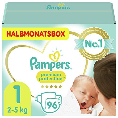 Pampers Größe 1 Premium Protection Baby Windeln, 96 Stück, HALBMONATSBOX, Weichster Komfort Und Schutz (2-5kg)