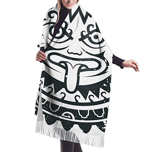 YANAIX Damen Herbst Winter Winter Schal,Thanksgiving Weihnachten Inka-Maske, Schal Warm Soft Chunky Large Blanket Wrap Schal Schals